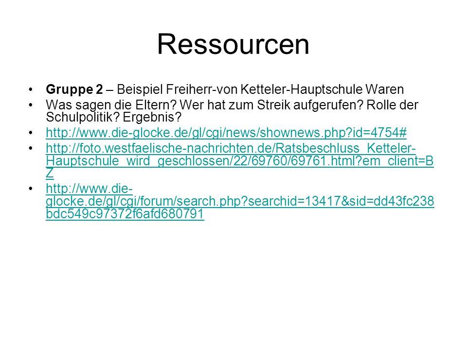 Ressourcen Gruppe 2 – Beispiel Freiherr-von Ketteler-Hauptschule Waren