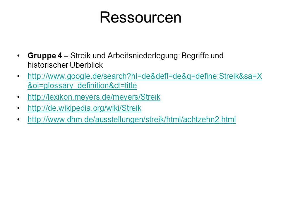 Ressourcen Gruppe 4 – Streik und Arbeitsniederlegung: Begriffe und historischer Überblick.