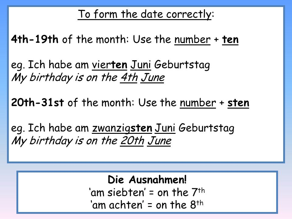 To form the date correctly: