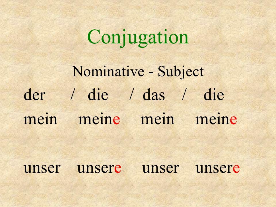 Conjugation der / die / das / die mein meine mein meine