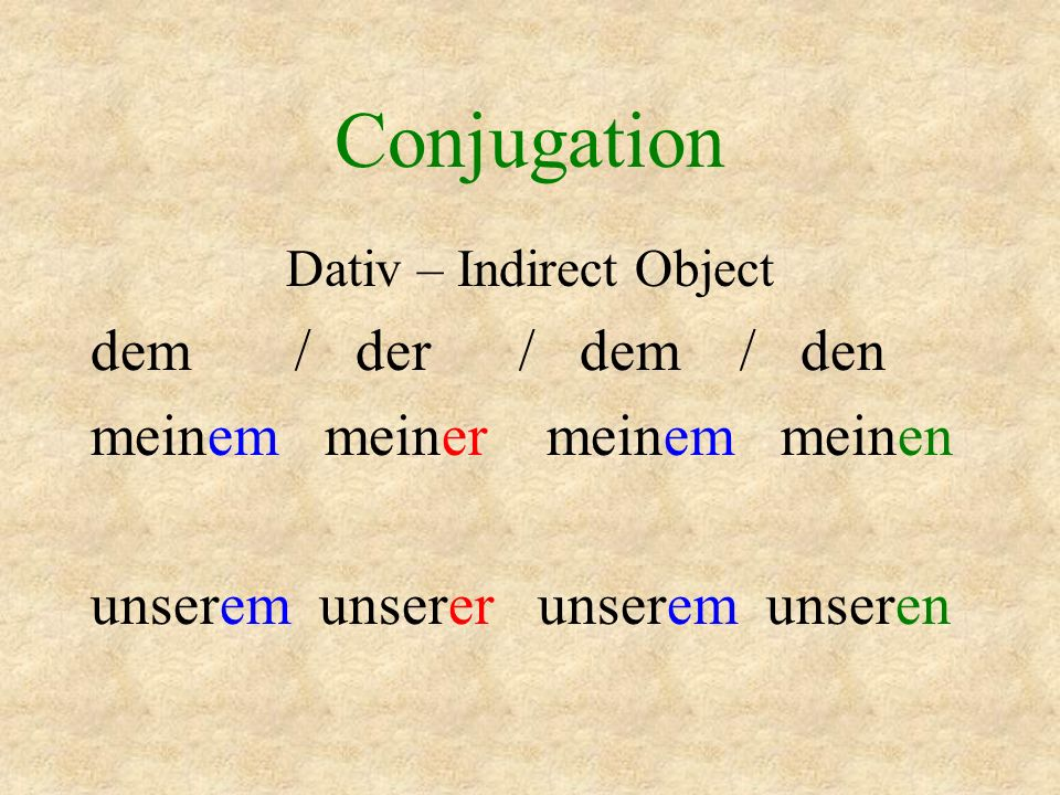 Dativ – Indirect Object