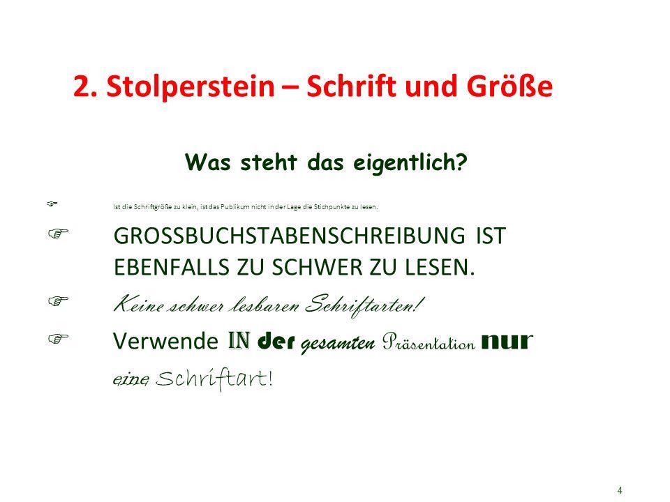 2. Stolperstein – Schrift und Größe