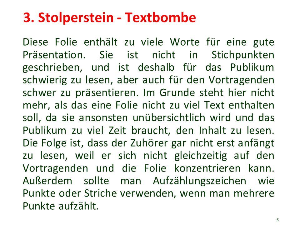 3. Stolperstein - Textbombe