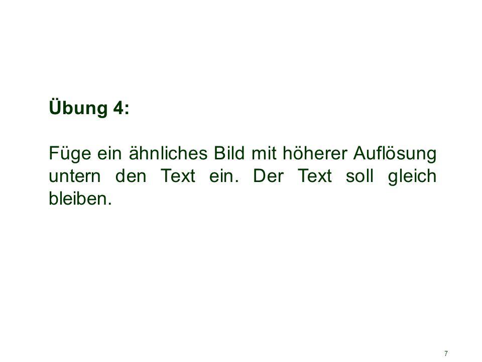 Übung 4: Füge ein ähnliches Bild mit höherer Auflösung untern den Text ein.