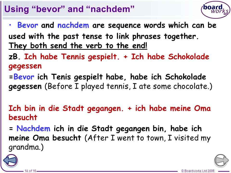 Using bevor and nachdem