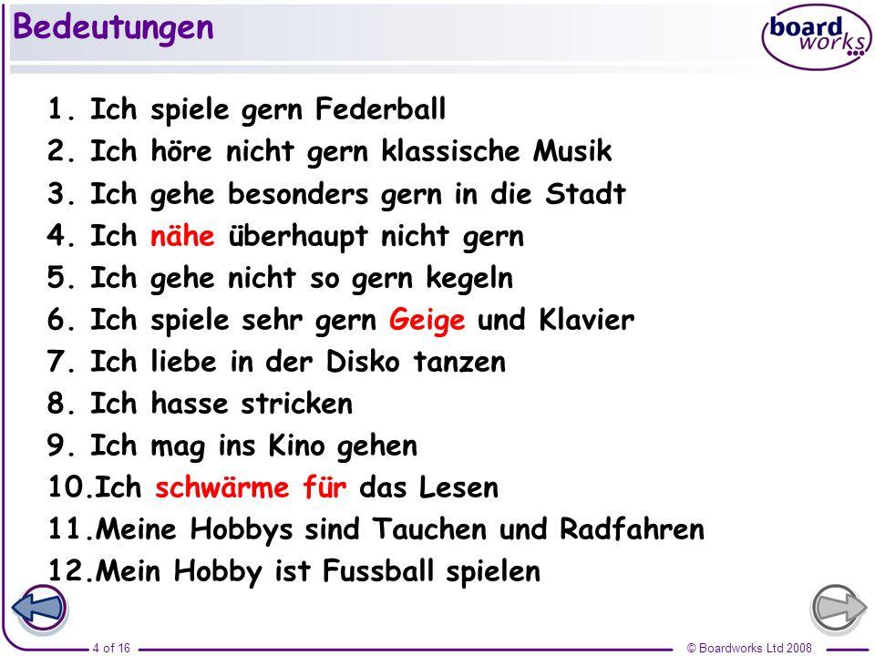 Bedeutungen Ich spiele gern Federball