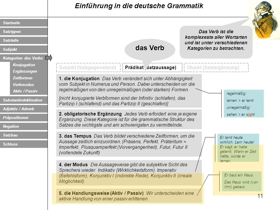 Das Verb ist die komplexeste aller Wortarten und ist unter verschiedenen Kategorien zu betrachten.