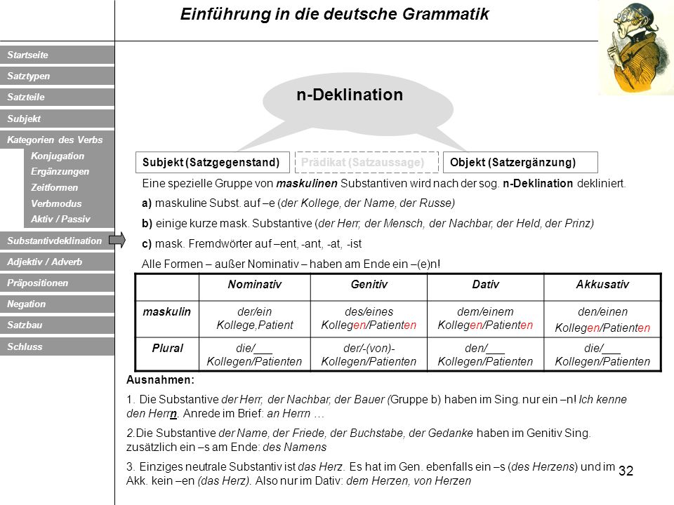 n-Deklination Subjekt (Satzgegenstand) Prädikat (Satzaussage)