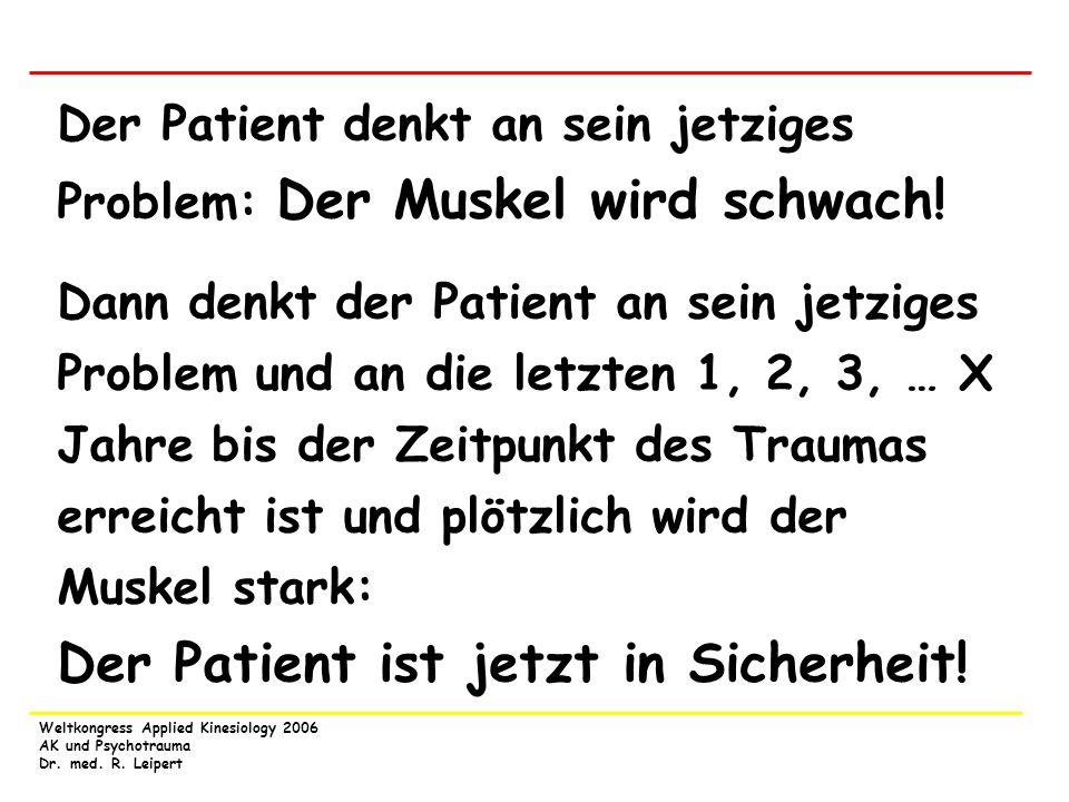 Der Patient denkt an sein jetziges Problem: Der Muskel wird schwach!
