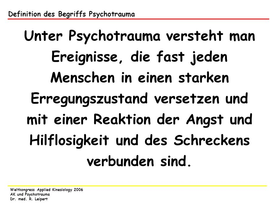 Definition des Begriffs Psychotrauma