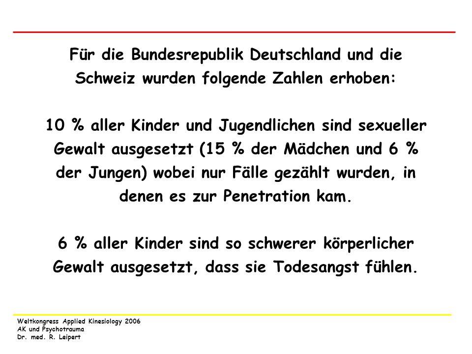 Für die Bundesrepublik Deutschland und die Schweiz wurden folgende Zahlen erhoben: