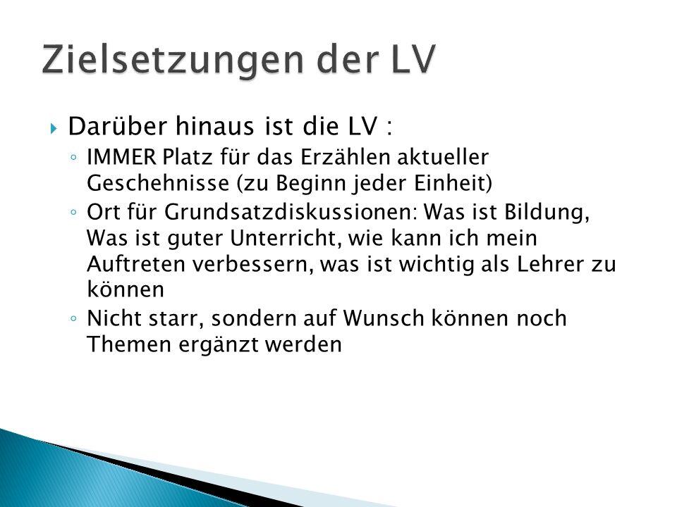 Zielsetzungen der LV Darüber hinaus ist die LV :