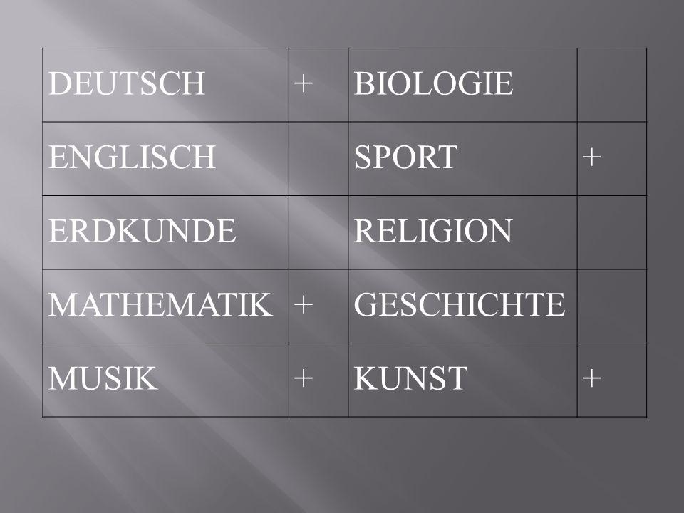 DEUTSCH + BIOLOGIE ENGLISCH SPORT ERDKUNDE RELIGION MATHEMATIK GESCHICHTE MUSIK KUNST