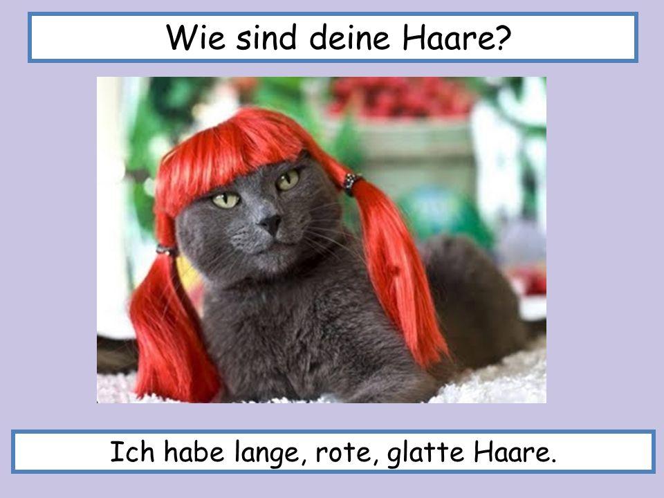 Ich habe lange, rote, glatte Haare.