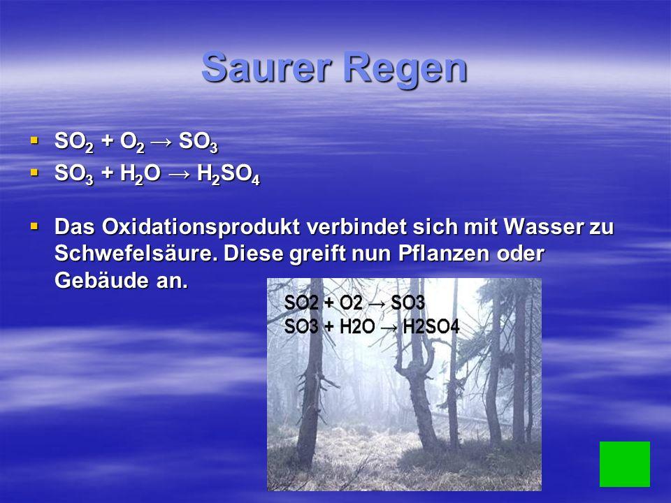 Saurer Regen SO2 + O2 → SO3 SO3 + H2O → H2SO4