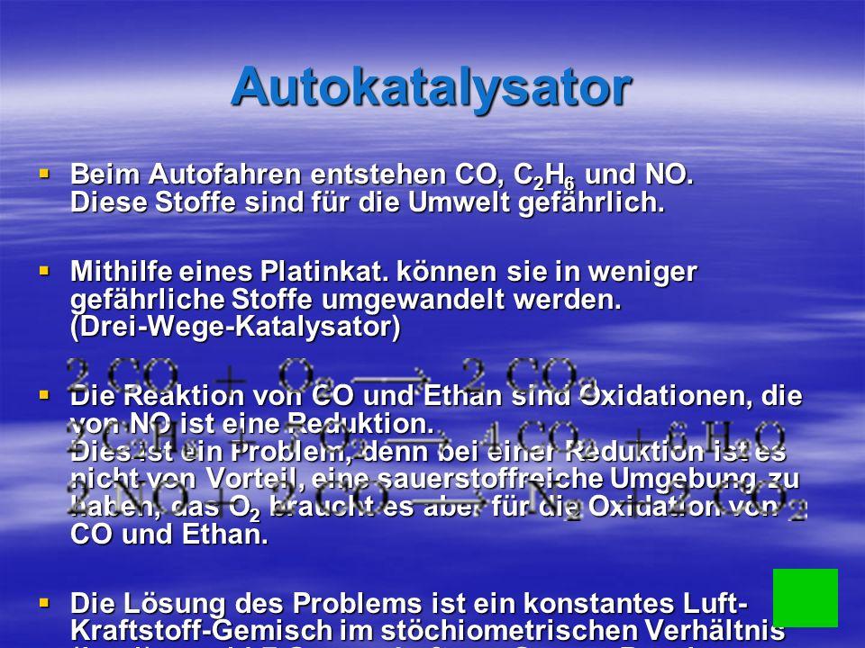 Autokatalysator Beim Autofahren entstehen CO, C2H6 und NO. Diese Stoffe sind für die Umwelt gefährlich.
