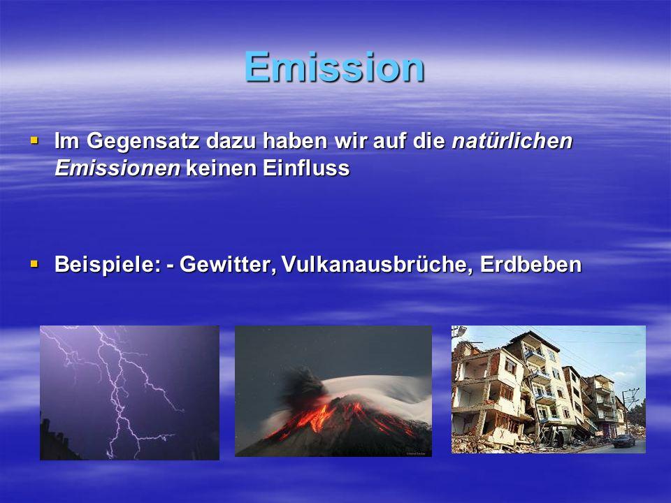 Emission Im Gegensatz dazu haben wir auf die natürlichen Emissionen keinen Einfluss.