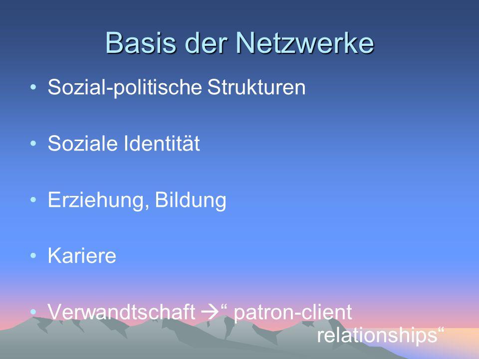 Basis der Netzwerke Sozial-politische Strukturen Soziale Identität