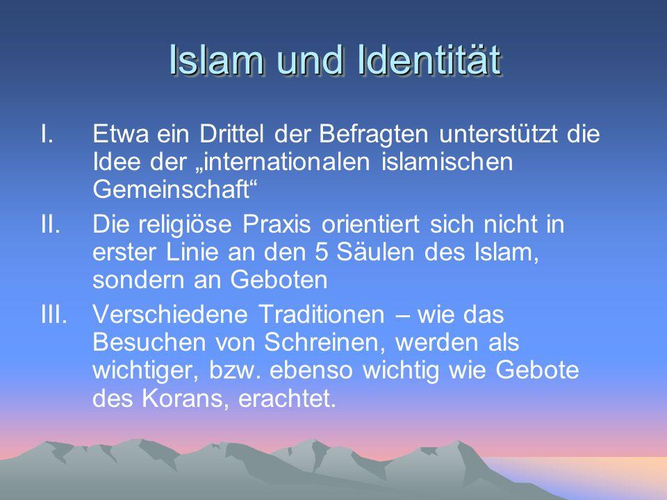 """Islam und Identität Etwa ein Drittel der Befragten unterstützt die Idee der """"internationalen islamischen Gemeinschaft"""