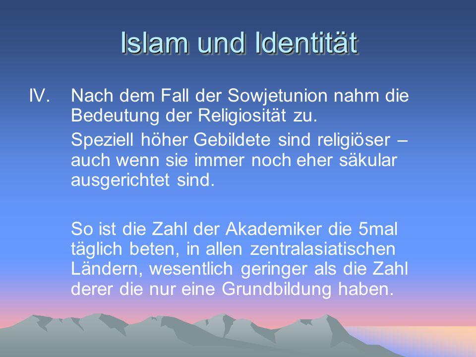 Islam und Identität IV. Nach dem Fall der Sowjetunion nahm die Bedeutung der Religiosität zu.