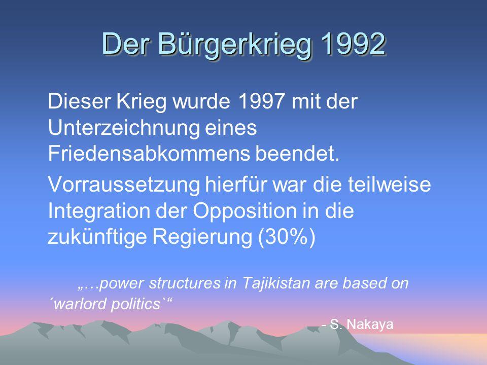 Der Bürgerkrieg 1992 Dieser Krieg wurde 1997 mit der Unterzeichnung eines Friedensabkommens beendet.