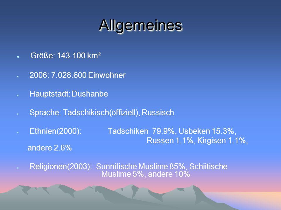 Allgemeines Größe: 143.100 km² 2006: 7.028.600 Einwohner