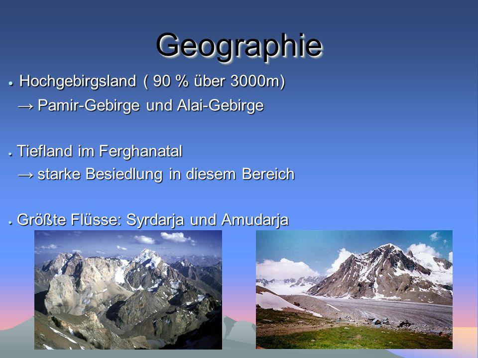 Geographie Hochgebirgsland ( 90 % über 3000m)