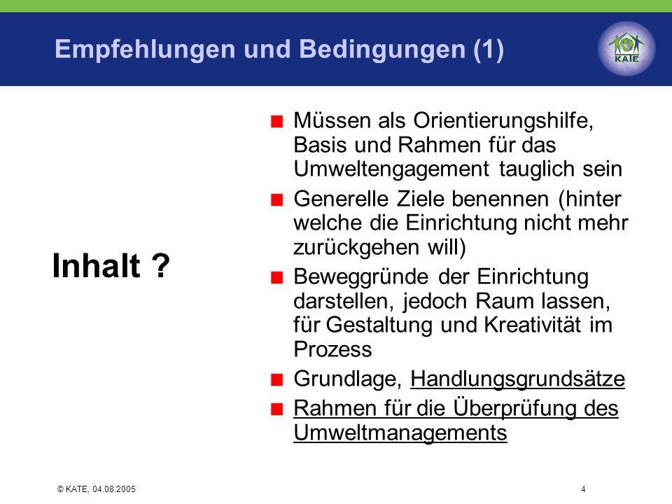 Empfehlungen und Bedingungen (1)