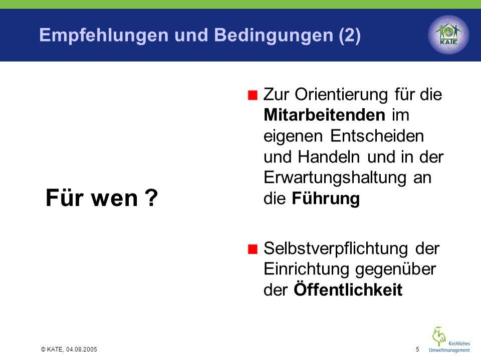 Empfehlungen und Bedingungen (2)