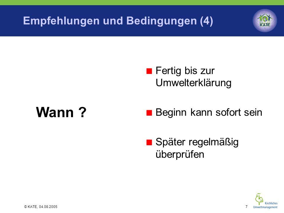 Empfehlungen und Bedingungen (4)