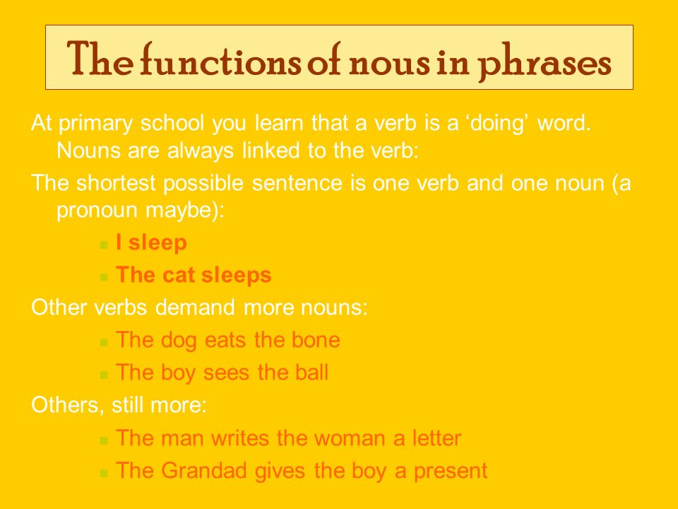 The functions of nous in phrases