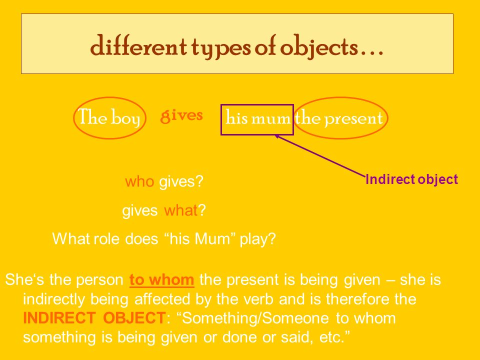 different types of objects . . .