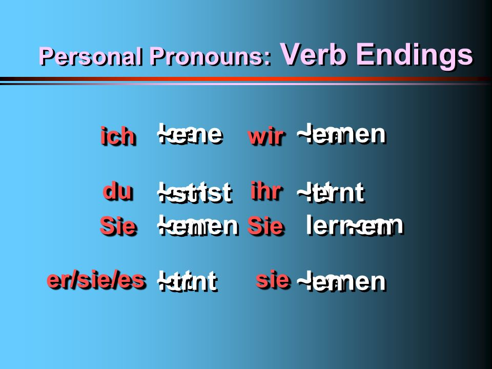 Personal Pronouns: Verb Endings
