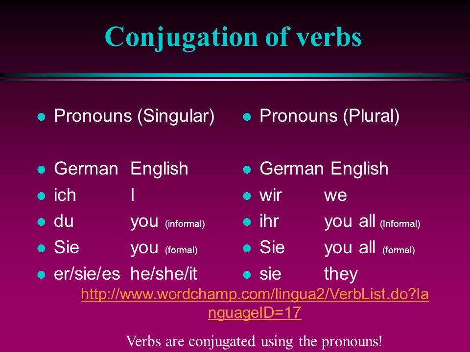 Verbs are conjugated using the pronouns!
