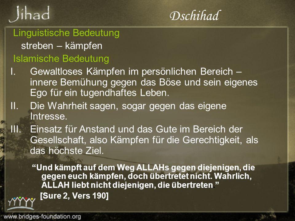 Dschihad Linguistische Bedeutung streben – kämpfen