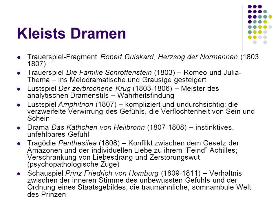 Kleists Dramen Trauerspiel-Fragment Robert Guiskard, Herzsog der Normannen (1803, 1807)