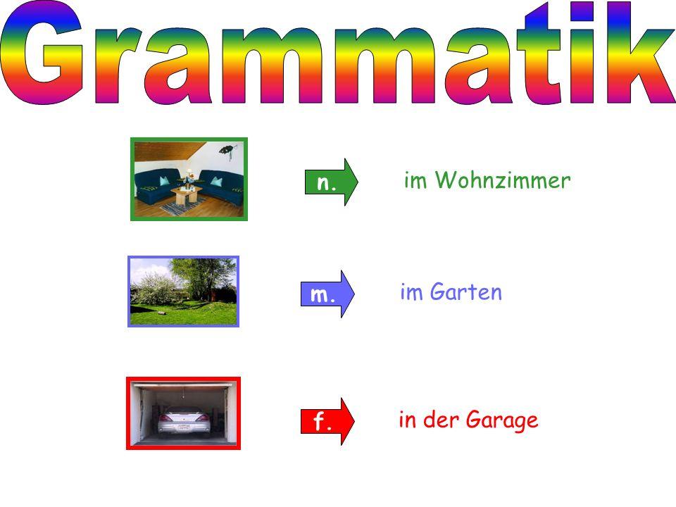 Grammatik n. im Wohnzimmer m. im Garten f. in der Garage