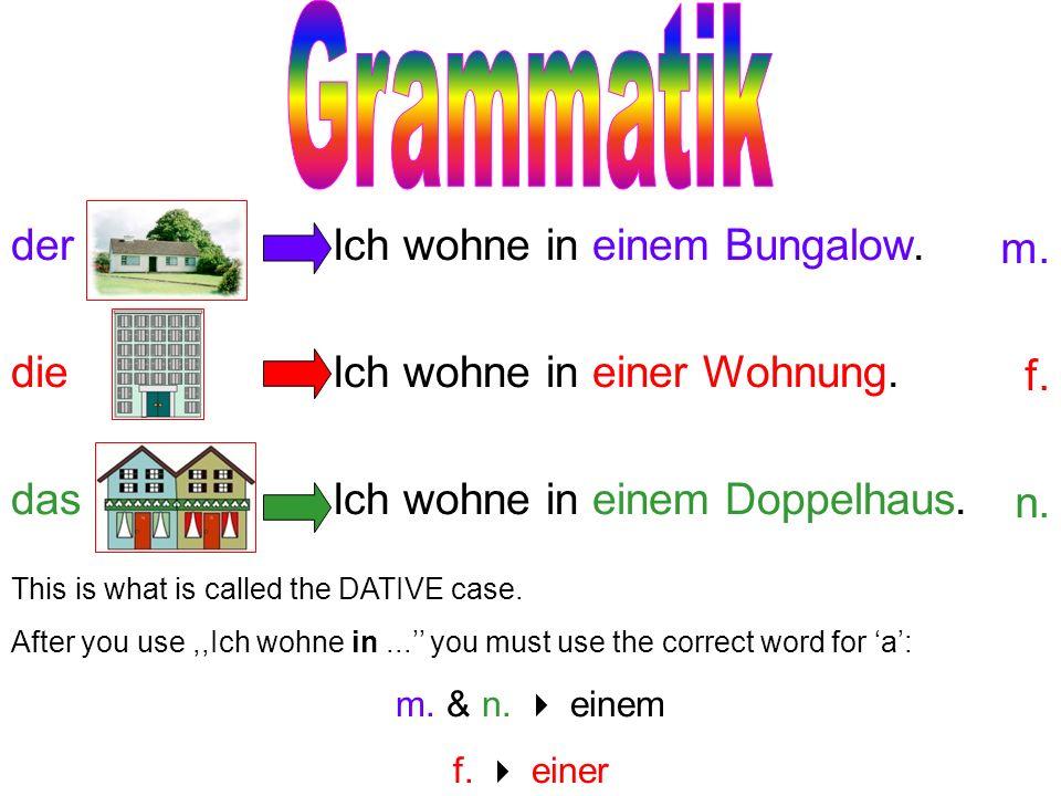 Grammatik der die das Ich wohne in einem Bungalow.