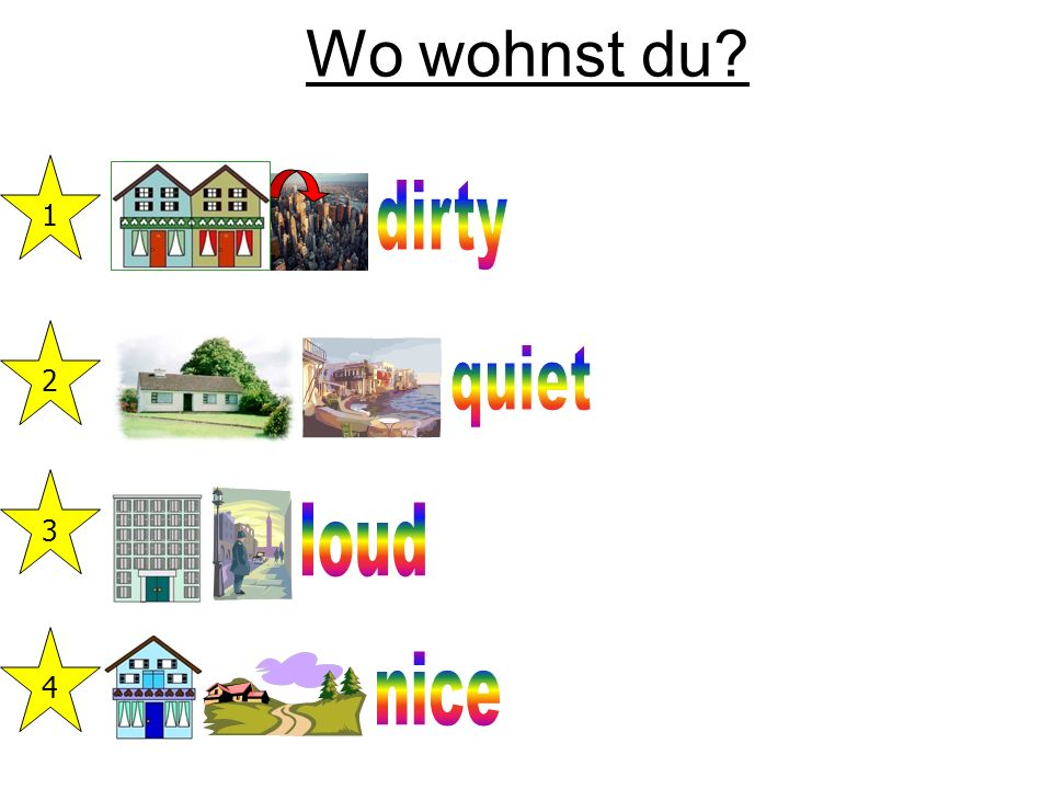 Wo wohnst du 1 dirty 2 quiet 3 loud 4 nice