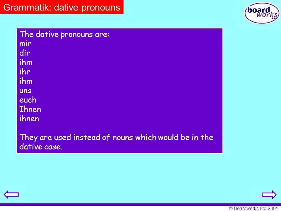 Grammatik: dative pronouns