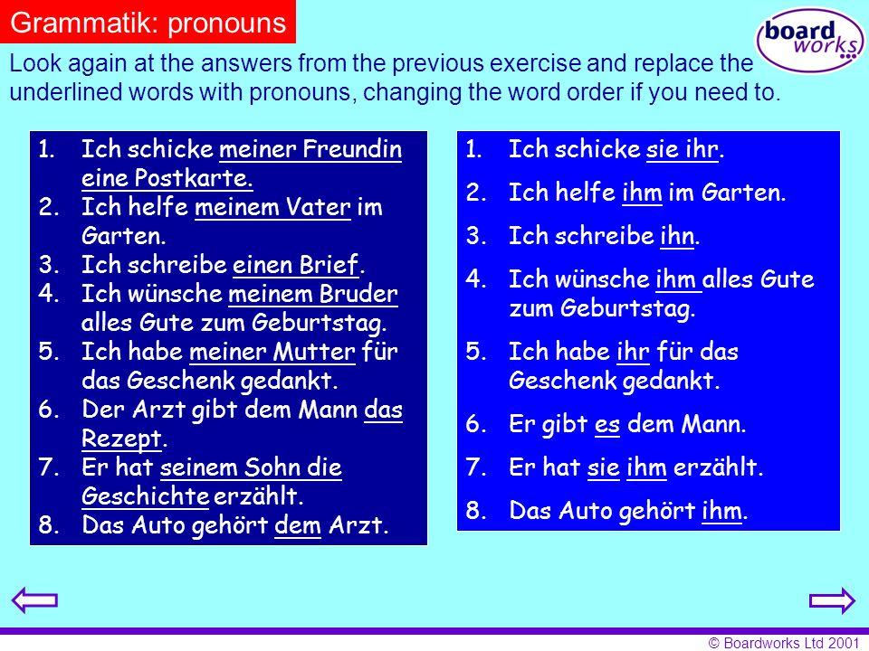 Grammatik: pronouns