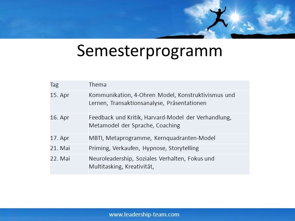 Semesterprogramm Tag Thema 15. Apr