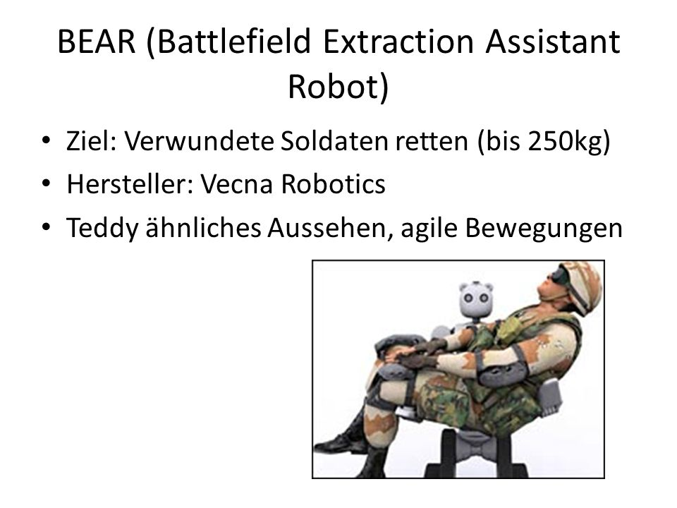 BEAR (Battlefield Extraction Assistant Robot)