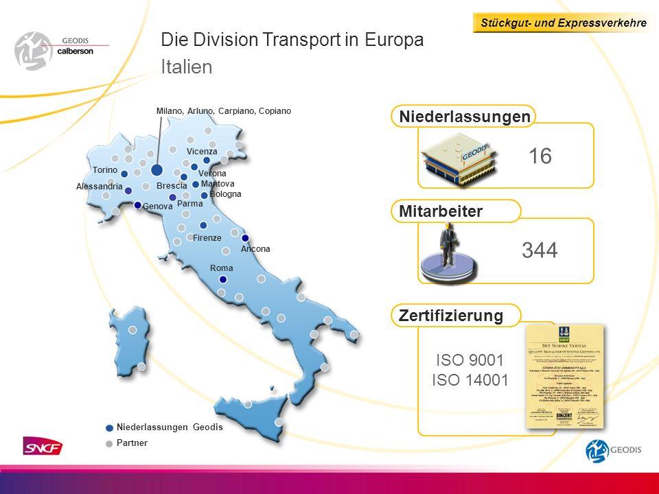 16 344 Italien Die Division Transport in Europa Niederlassungen