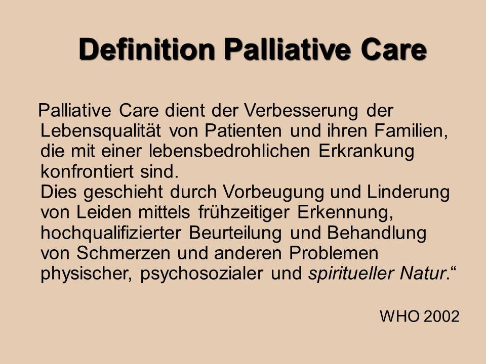 Definition Palliative Care