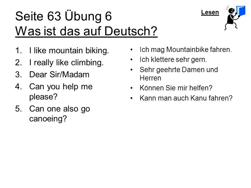 Seite 63 Übung 6 Was ist das auf Deutsch