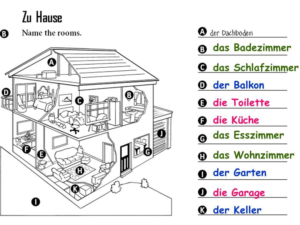 das Badezimmer das Schlafzimmer. der Balkon. die Toilette. die Küche. das Esszimmer. das Wohnzimmer.