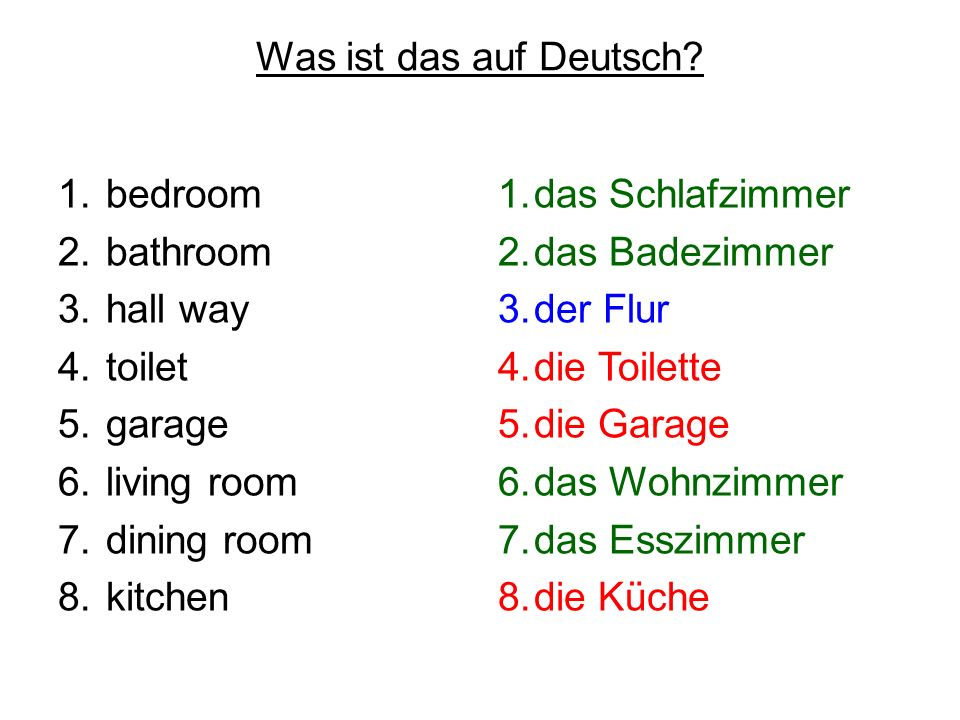 Was ist das auf Deutsch bedroom. bathroom. hall way. toilet. garage. living room. dining room.