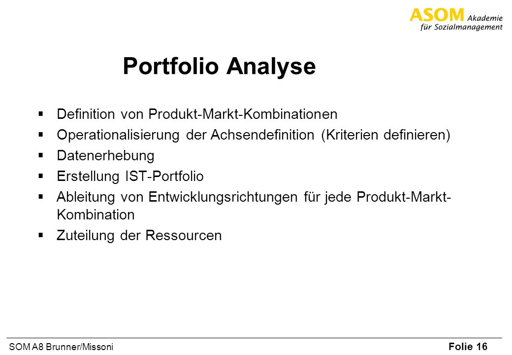 Portfolio Analyse Definition von Produkt-Markt-Kombinationen