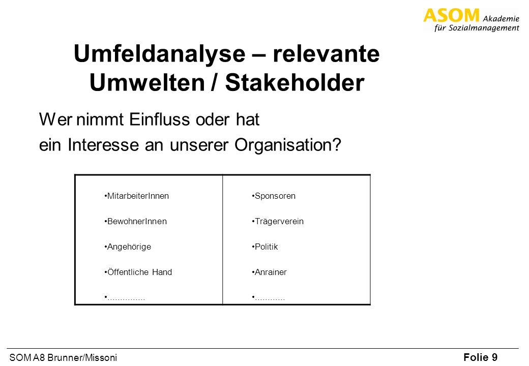 Umfeldanalyse – relevante Umwelten / Stakeholder